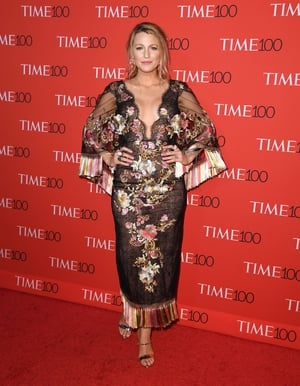Blake wore a stunning Marchesa dress with floral embroidery to the Time 100 Gala in April 2017.
