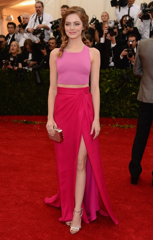Emma Stone wore a color-blocked Thakoon two-piece to the 2014 Met Gala. Theme: Charles James: Beyond Fashion.