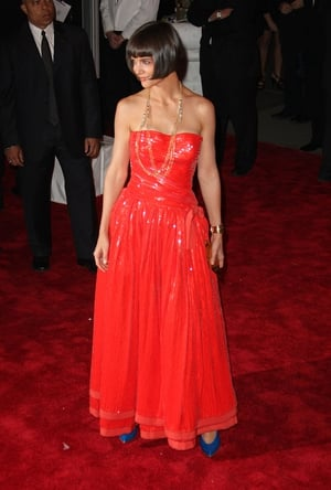 Katie Holmes wore Georgio Armani to the 2008 Met Gala. Theme: Superheroes: Fashion and Fantasy