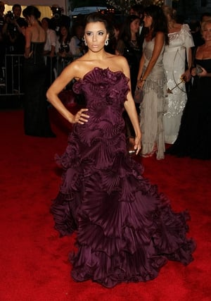 Eva Longoria Parker wore Marchesa to the 2008 Met Gala. Theme: Superheroes: Fashion and Fantasy