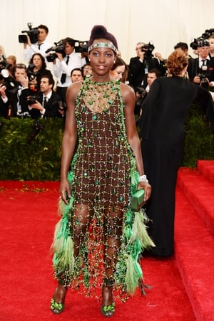 Lupita Nyong'o wore Prada to the Met Gala in 2014. Theme: Charles James: Beyond Fashion.