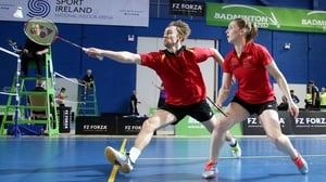Sam and Chloe Magee in mixed doubles action - they are now European medalists
