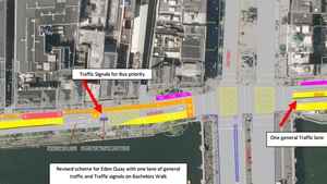 It is now proposed to allow one lane of general traffic to travel straight from Bachelor's Walk to Eden Quay