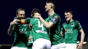 Johnny Dunleavy celebrates scoring with Karl Sheppard and Shane Griffin