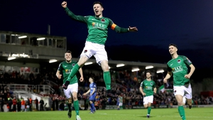 Johnny Dunleavy celebrates Cork City's second goal against Bray Wanderers