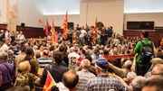 Protesters demonstrate inside Macedonia's parliament