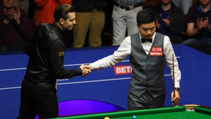 Ding Junhui shows his disappointment at the end of the match