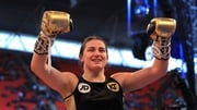 Katie Taylor celebrates her victory at Wembley Stadium