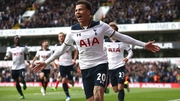 Dele Alli celbrates the opening goal at White Hart Lane