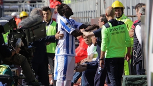 Sulley Muntari reacts during the Serie A match between Cagliari and Pescara