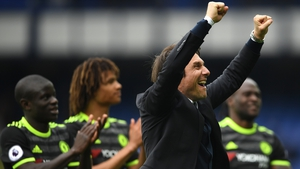 Antonio Conte shows his delight after the win at Goodison Park