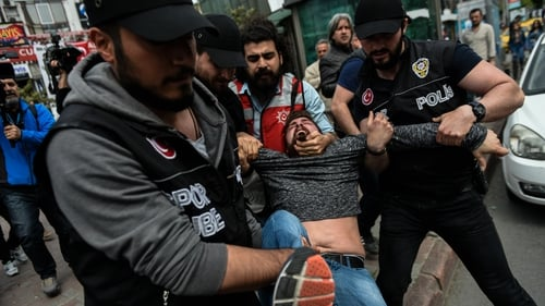 Authorities detained 165 people at protests around the Turkish city of Istanbul