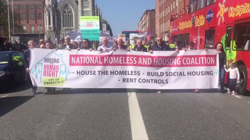 The march travelled from the Garden of Remembrance to Liberty Hall