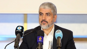 Exiled Chief of Hamas' Political Bureau Khaled Meshaal at policy unveiling in Qatar