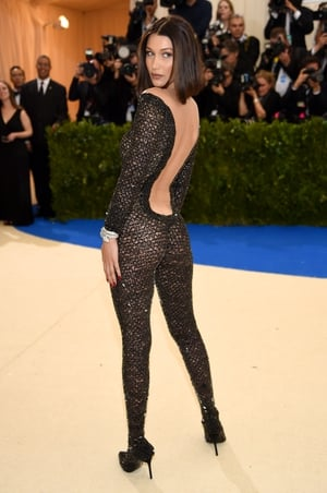 A catwoman Bella Hadid in Alexander Wang. Apparently she had to be sewn into this fitted number.