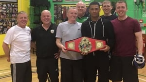 Caoimhin Hynes pictured with his Montana belt (3rd R)
