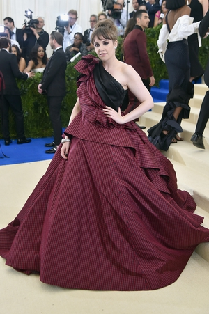 This is a gown! Lena Dunham wore a prominent Elizabeth Kennedy dress.
