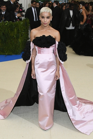 Zoë Kravitz is a fashion queen! She showed her new haircut in a bustier and rose Oscar de la Renta gown and Tacori jewelry. Gorgeous.