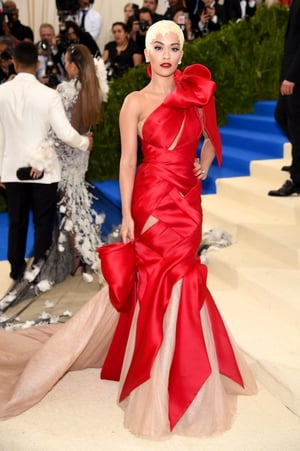 Rita Ora is a gift in this custom Marchesa gown. Check out that hair!