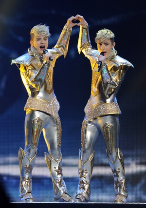"""Double trouble. Irish twin duo Jedward looked cosmic in these shiny costumes.They represented Ireland performing their song """"Waterline"""" in 2012."""