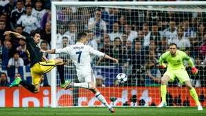 Ronaldo smashes home the second goal of his hat-trick in the first leg at the Bernabeu