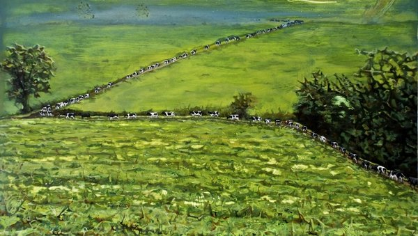 Ann Quinn - My Father's Cows Making Their Way Back Down To The Burn Field After Milking Time (2013)