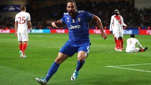 Gonzalo Higuain has scored twice in Monaco tonight