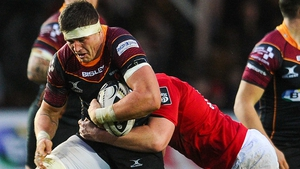 Ed Jackson (L) in action against Munster