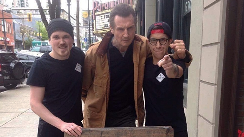 Liam Neeson with staff at Big Star Sandwich Co - He now has a sandwich named in his honour Photo: Big Star Sandwich Co, Twitter