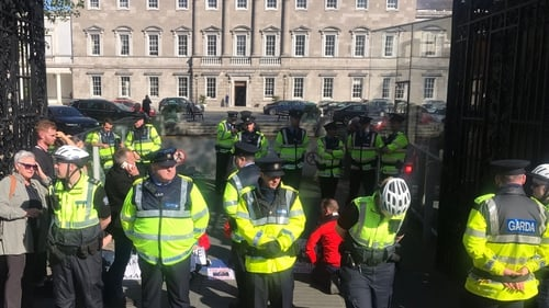 Gardaí remove Vera Twomey from protest at Leinster House