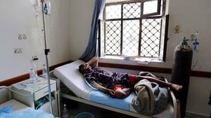A cholera-infected man receives treatment at a hospital in Sanaa, Yemen