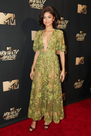 Zendaya looks elegant in a sheer  Zuhair Murad Couture dress with floral print and plunging neckline.