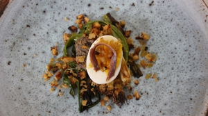 Rory O'Connell's Grilled Scallions with Mushrooms and Anchovy, Hens Egg and Pan Gratatta.