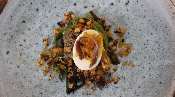 Grilled Scallions with Mushroom, Anchovy and a Hard Boiled Egg