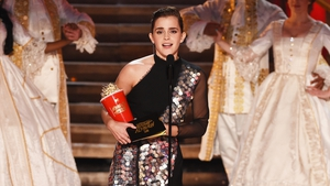 """Emma Watson accepts """"Best Actor"""" in a Movie for her role as Belle in """"Beauty and the Beast"""" at the MTV Movie And TV Awards 2017"""