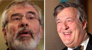 Gerry Adams said Stephen Fry and anyone else should be able to express an opinion without fear of criminal proceedings