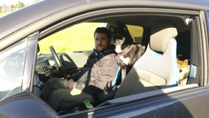 One man, Stephen Welstead, and his dog, Ryuu, on their electric journey.
