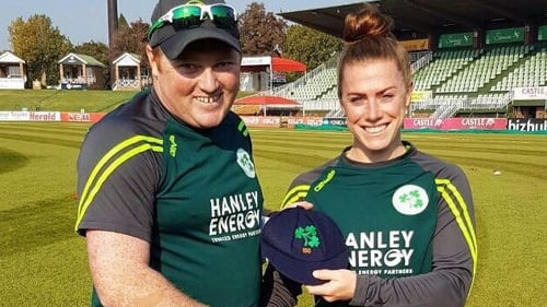 Mary Waldron getting presented with her 100th cap for Ireland