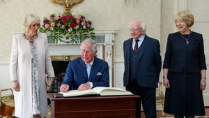 Prince Charles signs the visitors' book at Áras an Uachtaráin (Pic: President of Ireland)