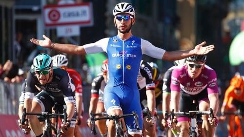 Fernando Gaviria wins the fifth stage of the Giro in 2017 ahead of Ireland's Sam Bennett