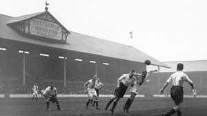 Spurs in action against Oldham Athletic in a fourth round FA Cup tie at White Hart Lane in 1932
