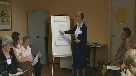 Sr Bernadette MacMahon gives a class on how to fill out an electoral ballot paper at St Helena's Family Resource Centre, Finglas (2007).
