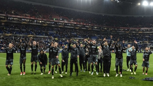 Ajax's youthful squad celebrate securing a place in the Europa League final