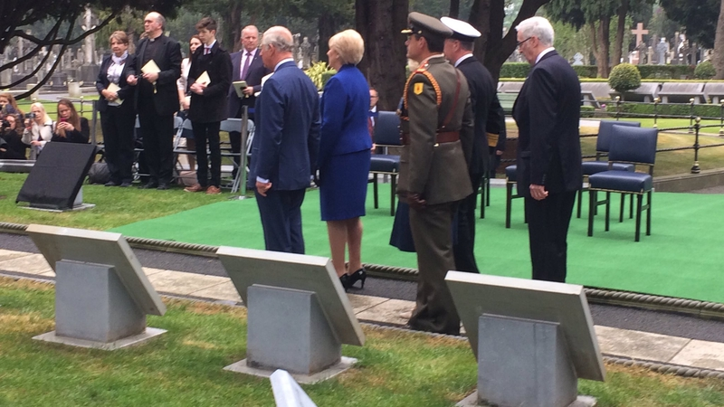 Prince Charles took part in a WWI remembrance ceremony at Glasnevin Cemetery