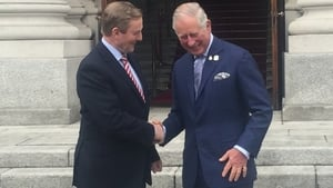 Taoiseach Enda Kenny greets Charles at Government Buildings