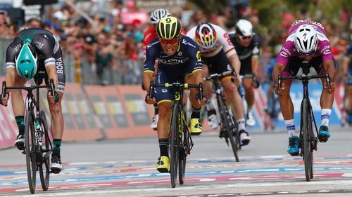 Sam Bennett (left) was beaten on the line in the Giro again. Caleb Ewan (centre) won