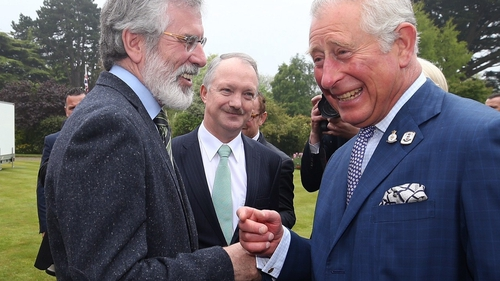 Gerry Adams and Prince Charles shook hands at a reception in the British ambassador's residence