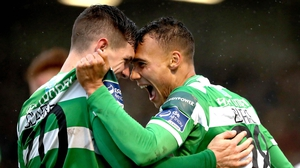 Trevor Clarke celebrates his goal for Shamrock Rovers with with Graham Burke