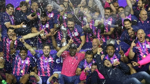 Stade Francais celebrate their challenge cup win over Gloucester