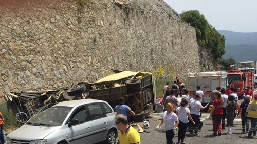 The bus crashed near Marmaris after travelling from the western city of Izmir